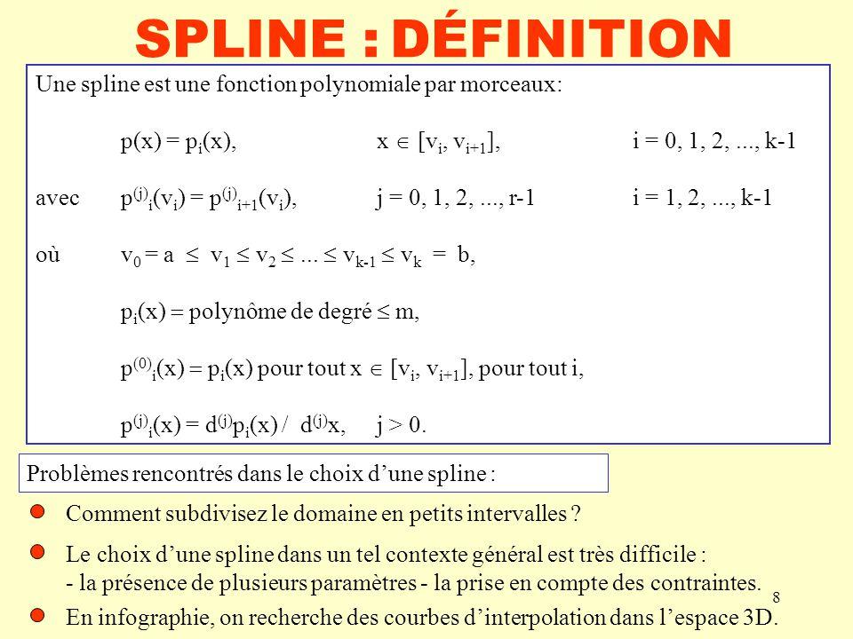 SPLINE : DÉFINITION Une spline est une fonction polynomiale par morceaux: p(x) = pi(x), x  [vi, vi+1], i = 0, 1, 2, ..., k-1.